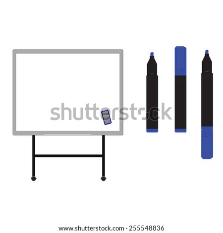 Whiteboard with  opened, closed, blue markers vector isolated on white - stock vector