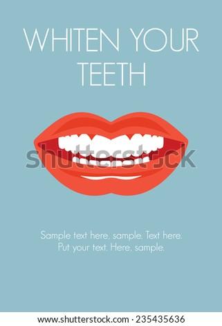 Whiten your teeth - stock vector