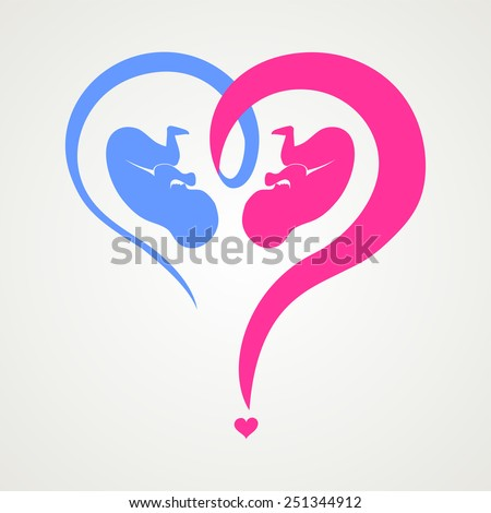 Who have a boy or a girl.  Heart question mark isolated on White background. Vector illustration - stock vector