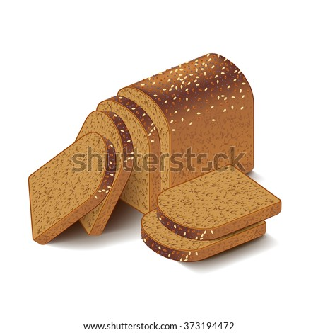 Whole grain sliced bread isolated on white photo-realistic vector illustration - stock vector