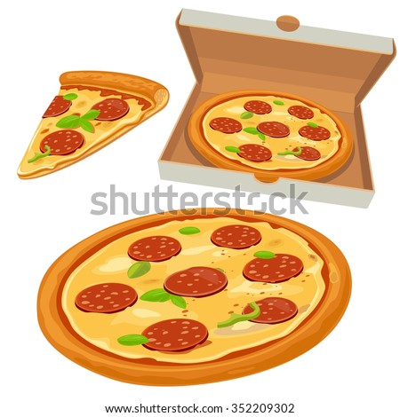 Whole pizza and slices of pepperoni  in open white box. Isolated vector flat illustration for poster, menus, logotype, brochure, web and icon. - stock vector