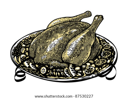 whole roasted turkey on  decorated platter with garnish - stock vector