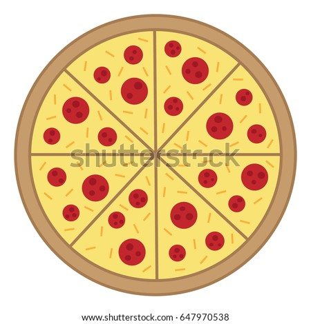 whole round pizza vector illustration doodle stock vector 647970538 shutterstock. Black Bedroom Furniture Sets. Home Design Ideas