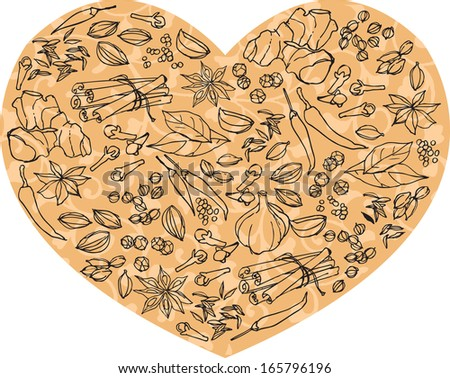 Whole spices arranged in heart shape