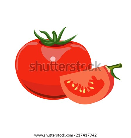 whole tomato and half of tomato vector flat design on white