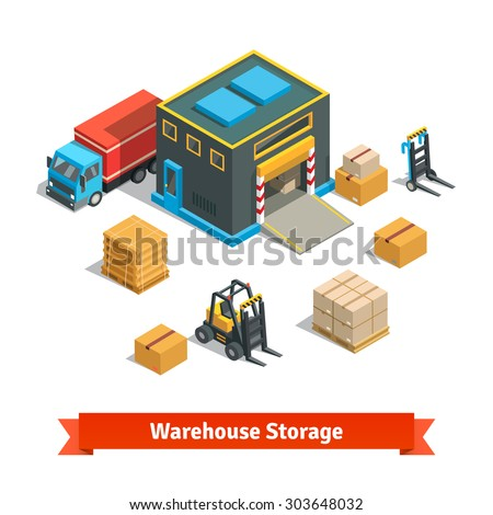 Wholesale warehouse storage building with forklift wares on pallets and truck. Goods distribution concept. Isometric flat style vector illustration isolated on white background. - stock vector