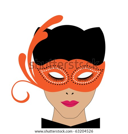 wholesome woman in catwoman costume - stock vector
