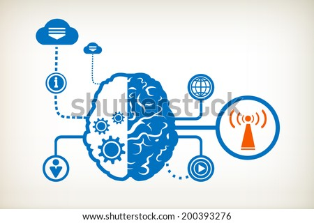 Wi fi and abstract human brain, the concept of the information movement - stock vector