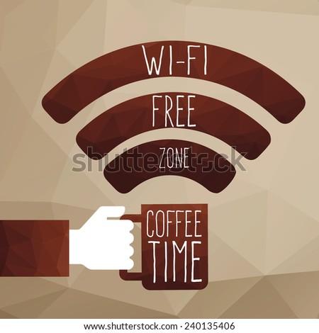 Wi-fi coffee,Wi-fi free zone, Wi-fi symbol - stock vector