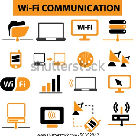 wi-fi communication signs. vector - stock vector