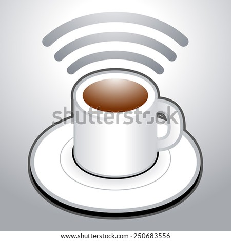 Wi-Fi Cup of coffee vector icon symbol - stock vector