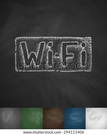 Wi-Fi icon. Hand drawn vector illustration. Chalkboard Design - stock vector