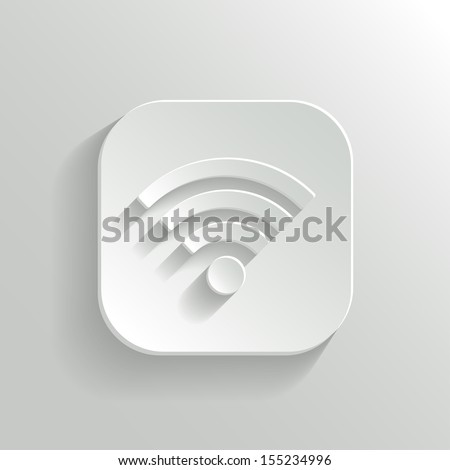 Wi-fi icon - vector white app button with shadow - stock vector