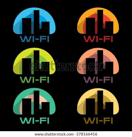Wi-Fi icons vector set on black background. Internet City. WiFi logo. WiFi symbol. WiFi sign. WiFi color. WiFi colorful. WiFi town. WiFi city. WiFi place. WiFi business. WiFi vector. WiFi symbol. WiFi - stock vector