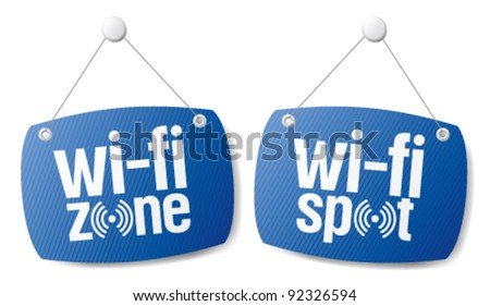 wi-fi internet signal signs to the store and bar. - stock vector