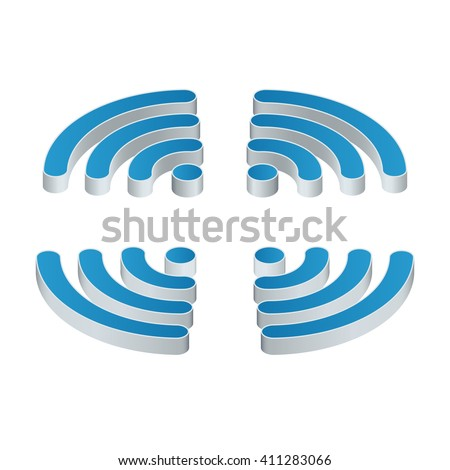 Wi-Fi isometric Icon. Set of four wifi icons for business or commercial use. Flat 3d vector illustration. Free wifi zone. Public free Wi-Fi hotspot zone wireless connection. - stock vector