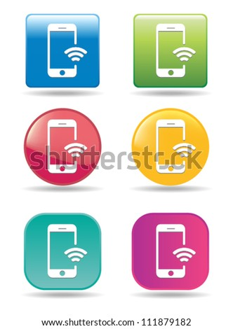 Wi-fi mobile phone icons - stock vector