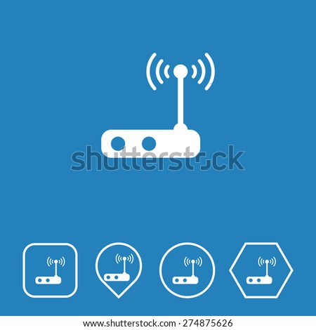 Wi-Fi Router Icon on Flat UI Colors with Different Shapes. Eps-10. - stock vector