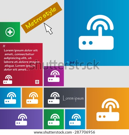 Wi fi router icon sign. buttons. Modern interface website buttons with cursor pointer. Vector illustration - stock vector