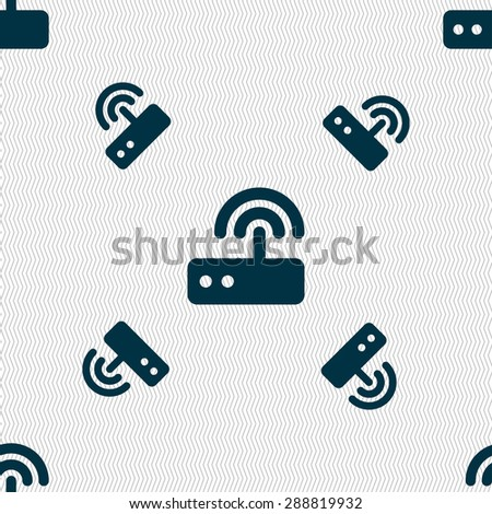 Wi fi router icon sign. Seamless pattern with geometric texture. Vector illustration - stock vector