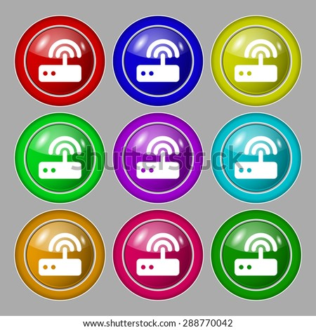 Wi fi router icon sign. symbol on nine round colourful buttons. Vector illustration - stock vector