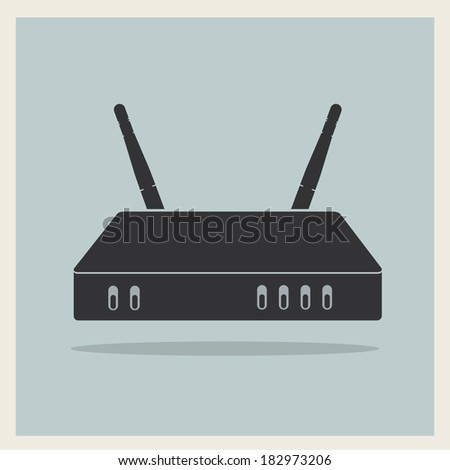 Wi-Fi Router on Blue Retro Background Vector - stock vector