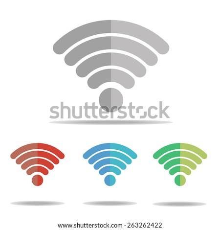 Wi-fi symbol : Wireless Network icon : Wifi zone : Wifi symbol on white background. - stock vector