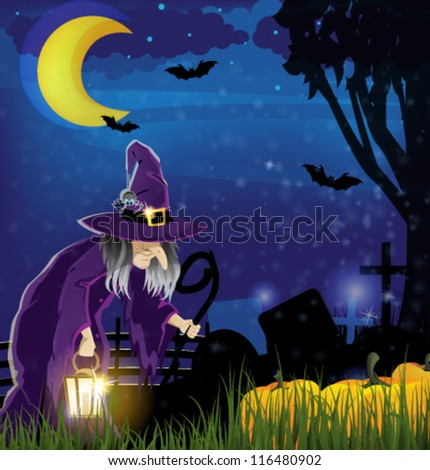 Wicked witch with a lantern and  pile of pumpkins on a  night cemetery
