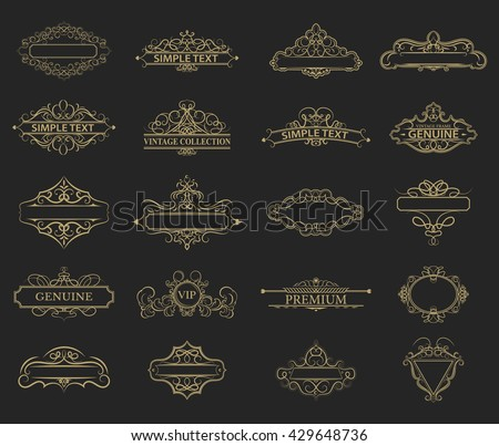 Wicker lines and old decor elements in vector. Vintage borders, frame and rosette in set. Vector page decoration. Decoration for logos, wedding album or restaurant menu. Calligraphic design elements - stock vector