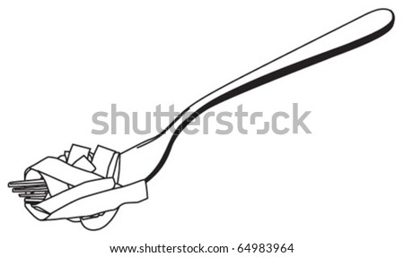 wide pasta on a fork - stock vector
