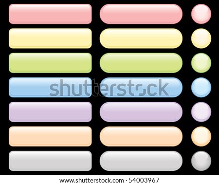 wide range of buttons in different color - stock vector