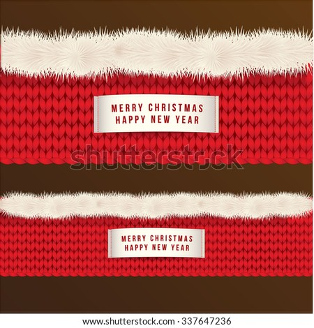 Wide web banner of Happy New Year and Christmas with  red knitted texture and white fur.  Decorative label on it. Vector illustration. - stock vector