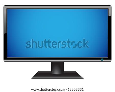 widescreen hdtv lcd monitor - stock vector