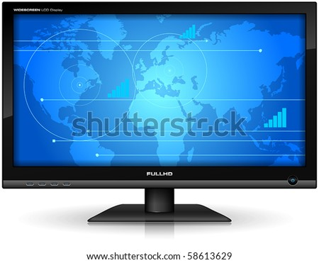 Widescreen TFT display - stock vector