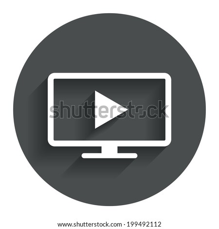 Widescreen TV mode sign icon. Television set symbol. Circle flat button with shadow. Modern UI website navigation. Vector