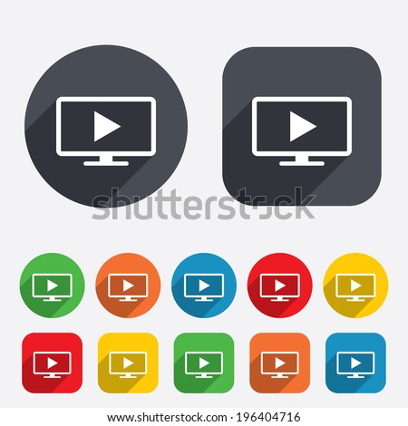 Widescreen TV mode sign icon. Television set symbol. Circles and rounded squares 12 buttons. Vector - stock vector