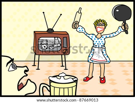 wife quarrels with her husband because of the football - stock vector