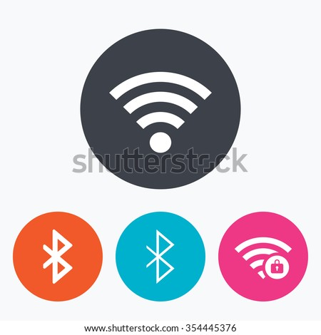 Wifi and Bluetooth icons. Wireless mobile network symbols. Password protected Wi-fi zone. Data transfer sign. Circle flat buttons with icon. - stock vector