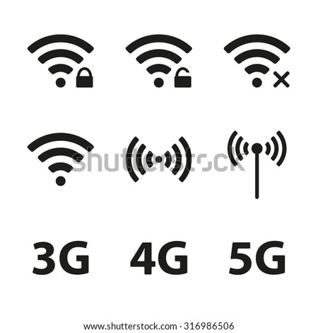 Wifi and wireless icon set for remote internet access isolated on white background. Podcast vector symbols. 3G, 4G and 5G technology signs. Vector illustration. - stock vector