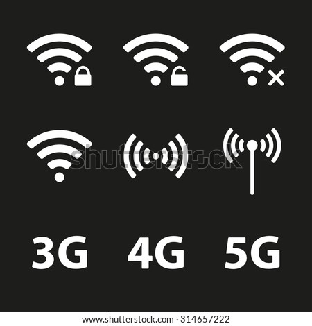 Wifi and wireless icon set for remote internet access. Podcast vector symbols. 3G, 4G and 5G technology signs. - stock vector