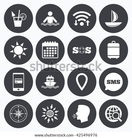 Wifi, calendar and mobile payments. Cruise trip, ship and yacht icons. Travel, cocktail and sun signs. Sos, windrose compass and swimming symbols. Sms speech bubble, go to web symbols. - stock vector