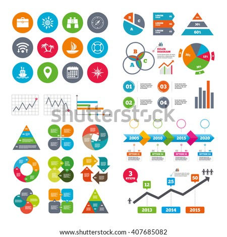 Wifi, calendar and web icons. Cruise trip, ship and yacht icons. Travel, cocktails and palm trees signs. Sunglasses, windrose and swimming symbols. Diagram charts design. - stock vector