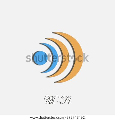Wifi concept logo on blue and orange colors creative design icon art - stock vector