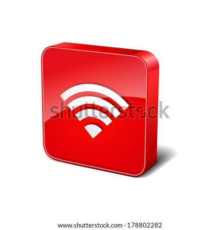 Wifi 3d Rounded Corner Red Vector Icon Button - stock vector