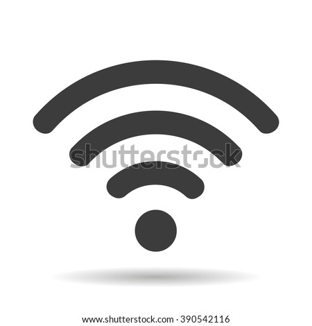 WIFI icon with shadow isolated on a white background, vector illustration for web design - stock vector