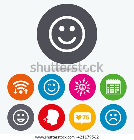 Wifi, like counter and calendar icons. Smile icons. Happy, sad and wink faces symbol. Laughing lol smiley signs. Human talk, go to web. - stock vector