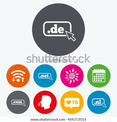 Wifi, like counter and calendar icons. Top-level internet domain icons. De, Com, Net and Nl symbols with cursor pointer. Unique national DNS names. Human talk, go to web. - stock vector