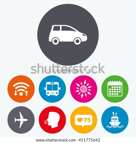 Wifi, like counter and calendar icons. Transport icons. Car, Airplane, Public bus and Ship signs. Shipping delivery symbol. Air mail delivery sign. Human talk, go to web. - stock vector