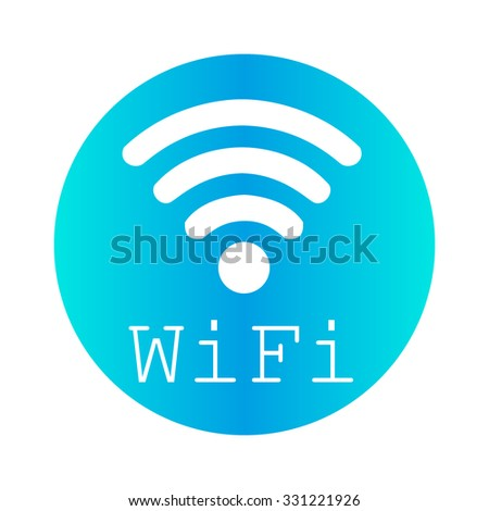 WiFi  logo on a blue circle on a white background - stock vector