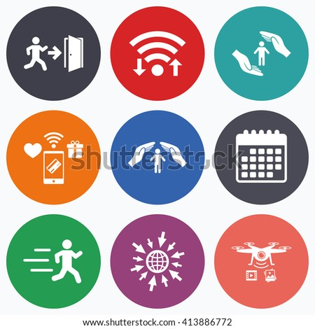 Wifi, mobile payments and drones icons. Life insurance hands protection icon. Human running symbol. Emergency exit with arrow sign. Calendar symbol. - stock vector